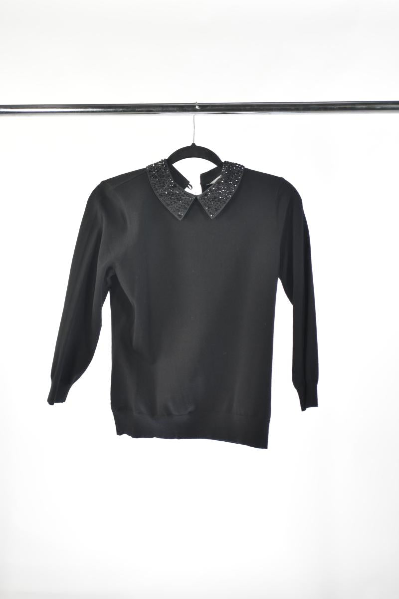 KAREN MILLEN Black Blouse with Studded Collar
