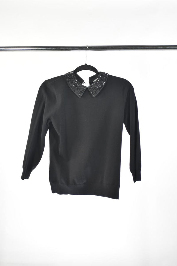 VEEP: KAREN MILLEN Black Blouse with Studded Collar-1