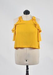 You're The Worst: Yellow Ruffle Top by Forever 21