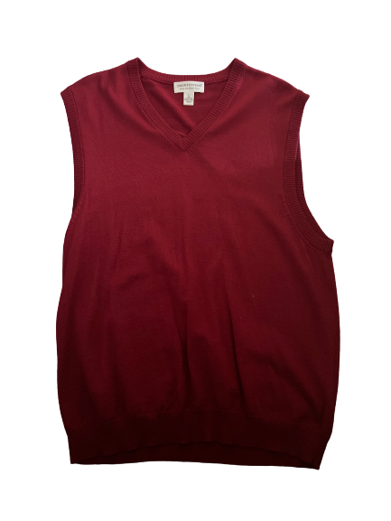 SILICON VALLEY: Jared's Red Merino Wool Sweater Vest-1