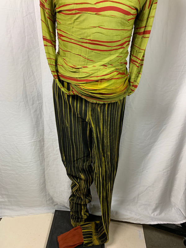 The Tempest: Trinculo's Famous Green & Black Striped Pants, Green & Red Stowe Shirt and Red Dress-3