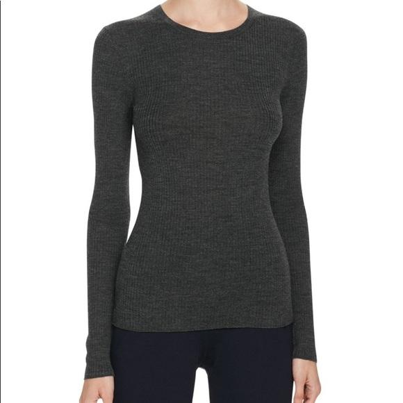 Theory Grey Ribbed Wool Sweater-1