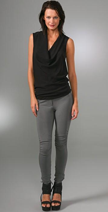 Theory Black Silk Cowl Neck Tank Top