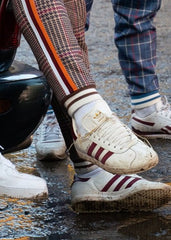 THE GENTLEMEN: Ernie's Red & White Adidas Gazelle Sneakers