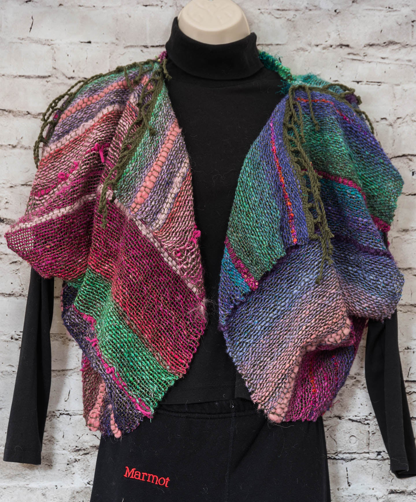 Handwoven Saori Style - Origami Jacket - Multi color pinks/greens/blues