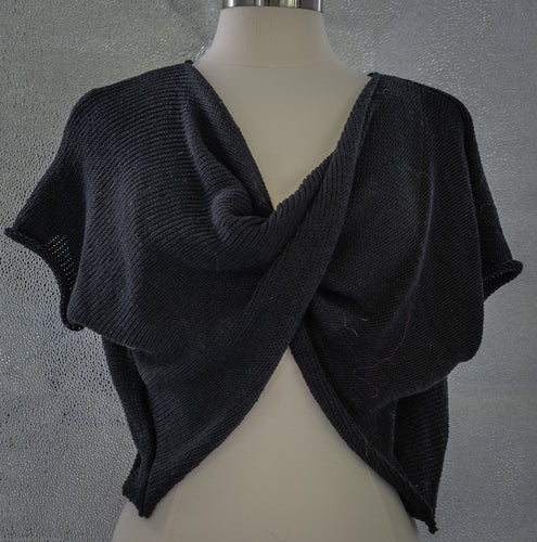 Drape Front Sweater - Black - Handknitted