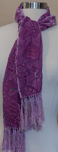 silk velvet devore grapes and vine pattern scarf