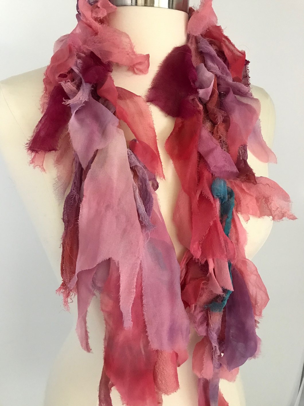 Silk chiffon shoulder wrap pinks/red