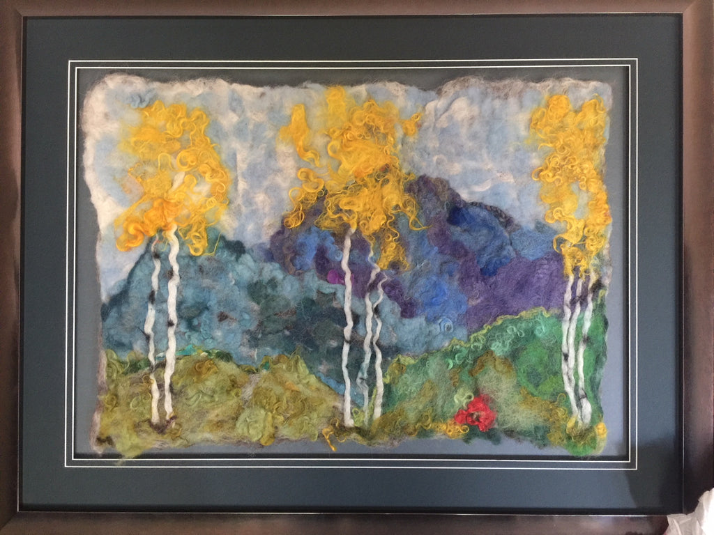 Rocky Mountain Aspen Trees in Fall. Felted Wall Art for Home or Office