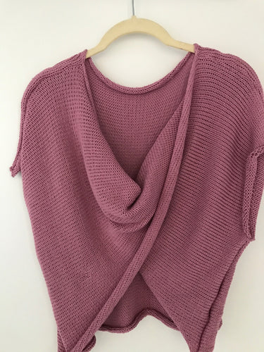 Drape Front Sweater - Rose - Handknitted