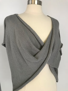 Drape Front Sweater - Grey - Large-Tall Size - Handknitted