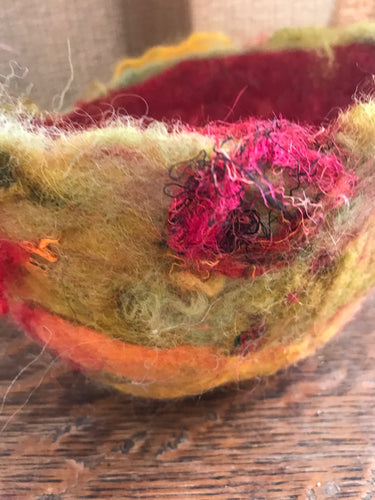 Woolen Vessel - Brilliant Reds, Gold, Green