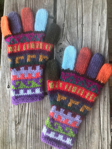 Colorful Gloves 2- Hand Knitted -  Alpaca blend