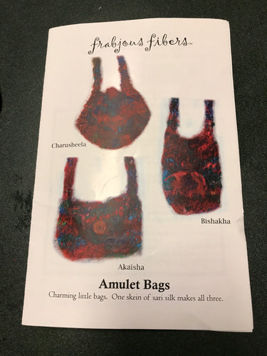 Knitting Kit -Three Amulet Bags -Handspun Vegan Yarn - Recycled Sari Cotton