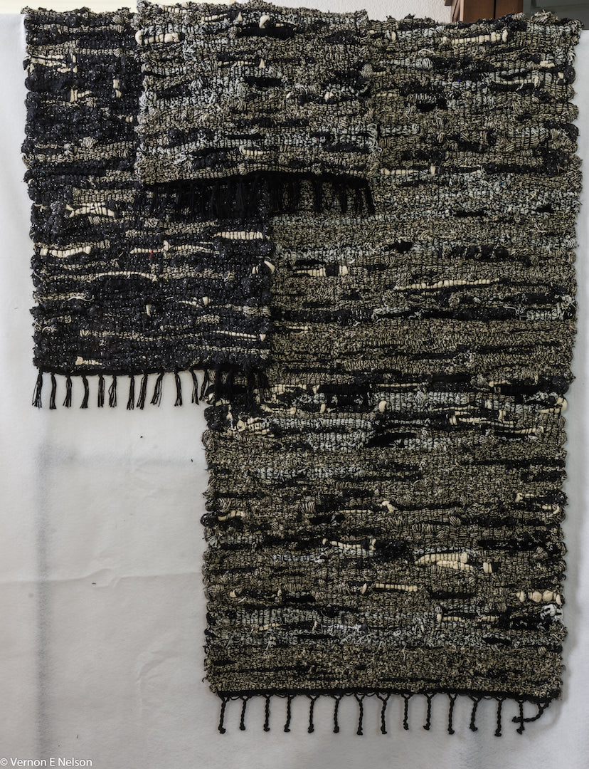 Handwoven SolMate Sock Rugs  - Mountain Village  - Cabin to Urban Retreat - Environmentally Friendly/ Hypoallergenic. Black and White/Colors - In stock and Special Orders
