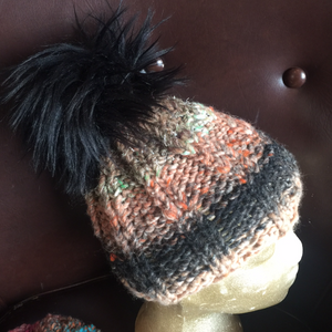 Warm Hand Knitted Wool Cap with Pom pom