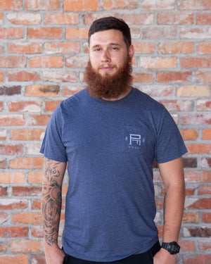 Blue Tee w/ Front Pocket featuring Barley Bee - Unisex