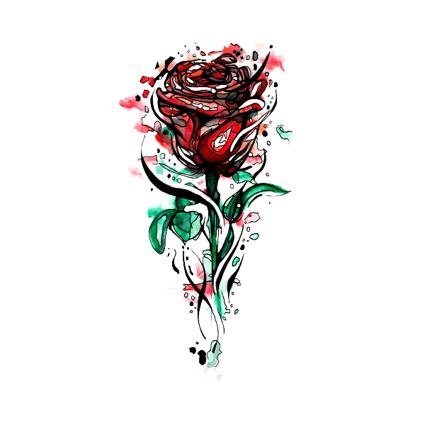 watercolor rose rose temporary tattoo momentary ink