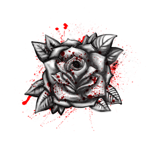 Blood Rose Halloween Temporary Tattoo