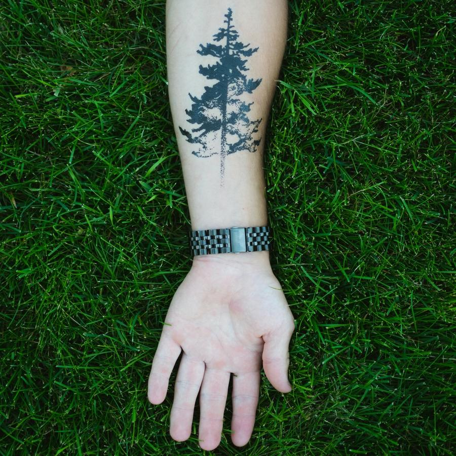 Tree silhouette pine tree temporary tattoo momentary ink for Evergreen tree tattoo