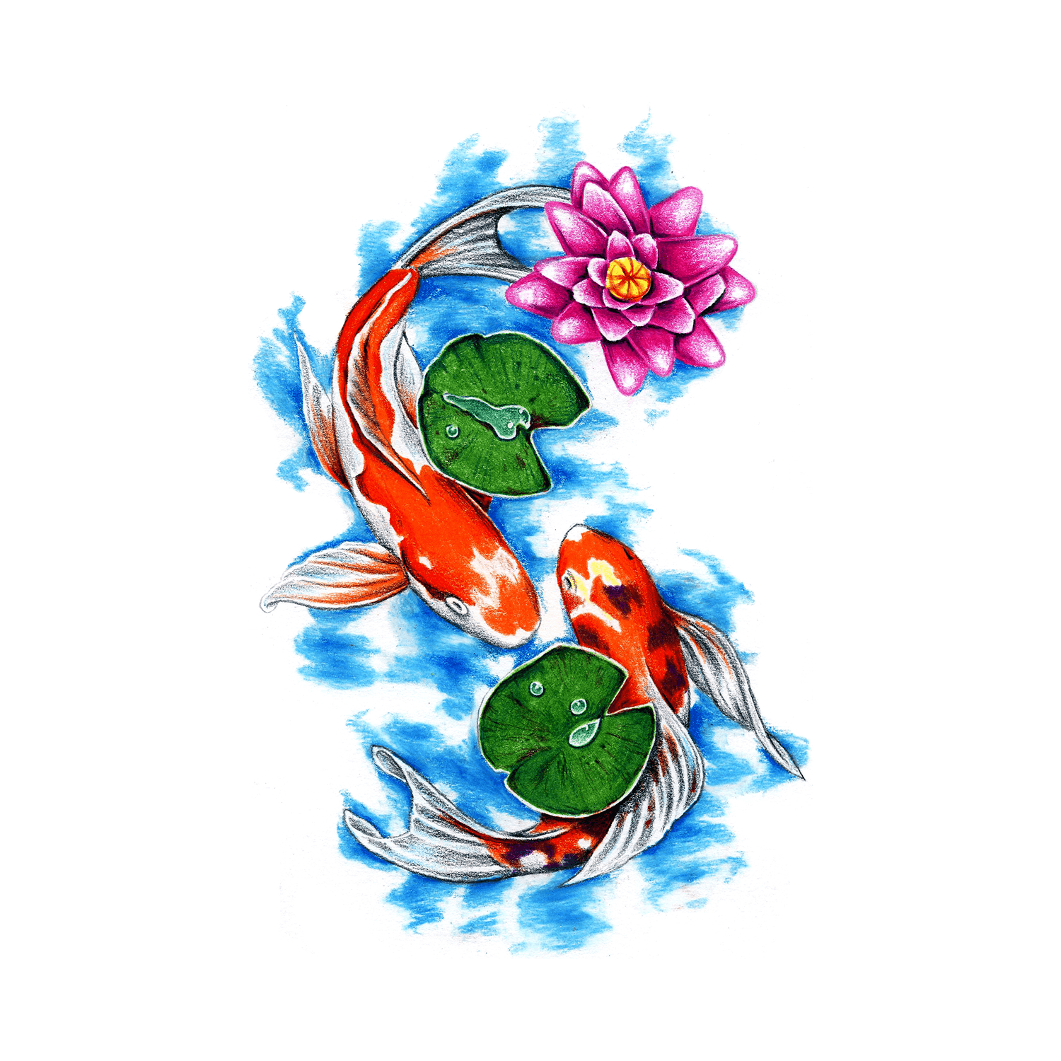 Koi pond koi pond temporary tattoo momentary ink for Koi pond tattoo