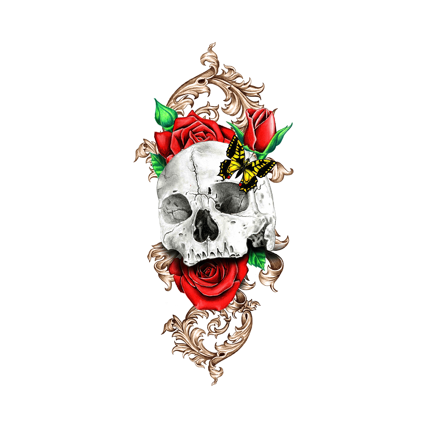 Skull And Roses Temporary Tattoo