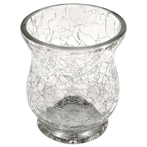 HW - Cracked-Look Clear Glass Candleholder