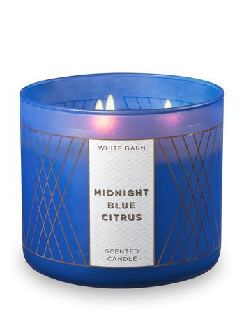 az -White Barn Candle 3 Wick 14.5 Ounce Midnight Blue Citrus