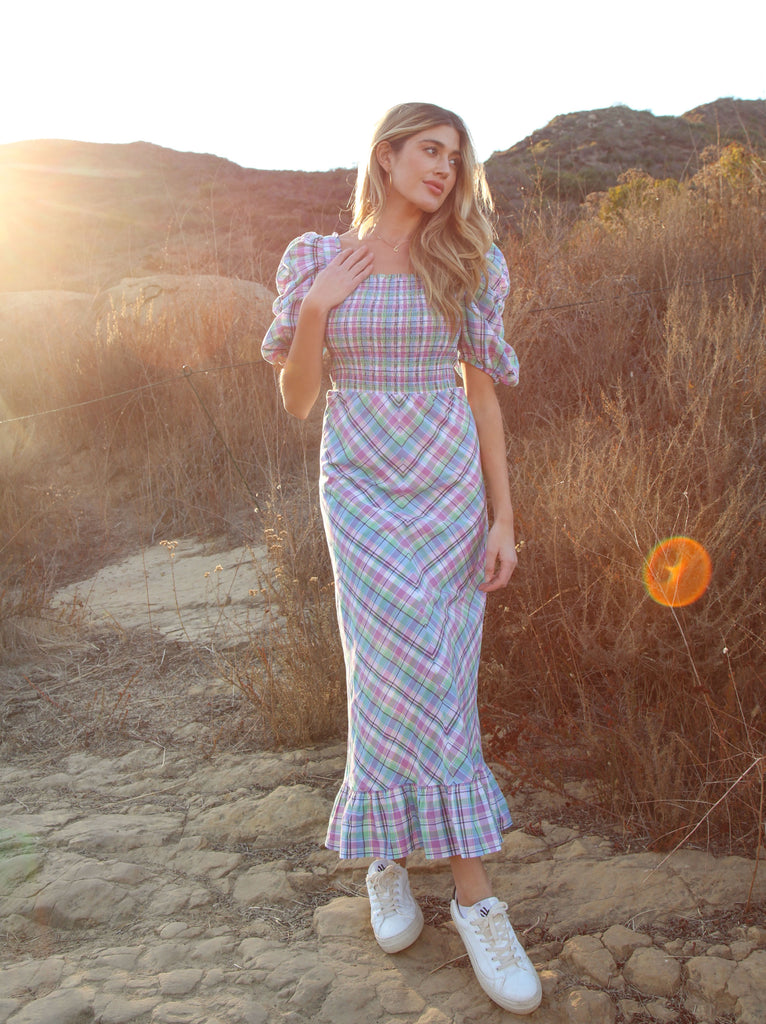 Alyssa Plaid Midi Dress