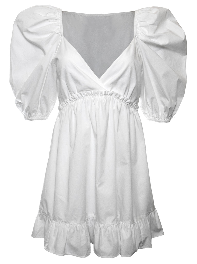 NOW x RAHI - White Poplin Jules Dress