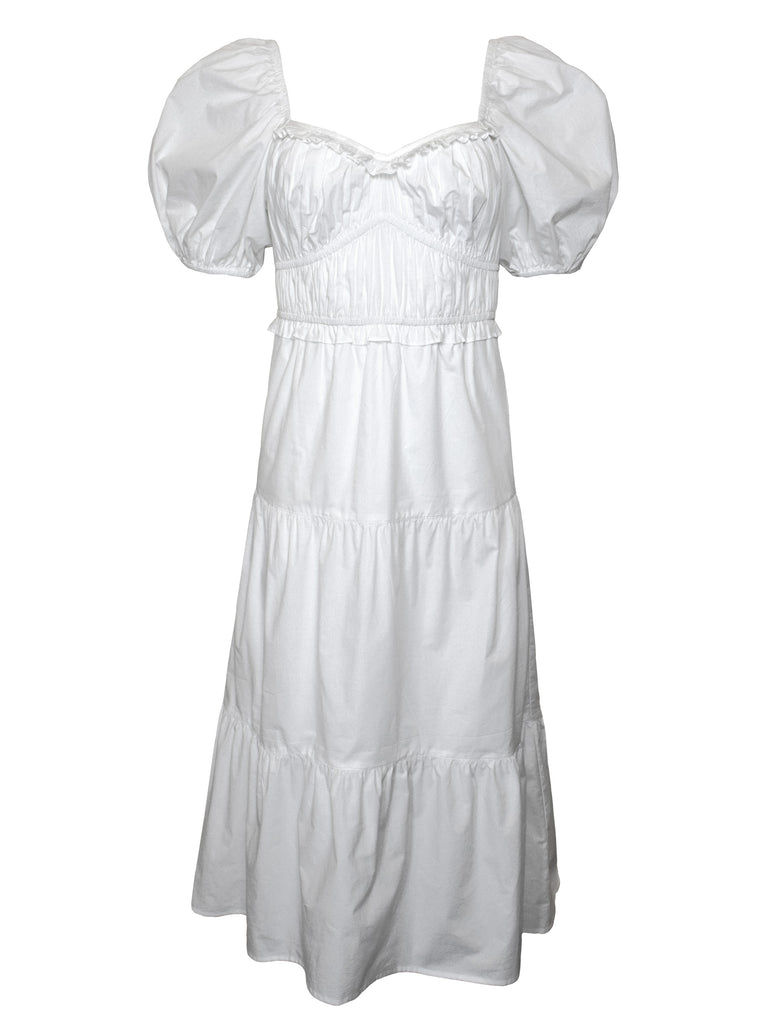 NOW x RAHI - White Poplin Midi Dress