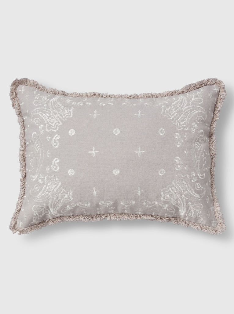 "NFC x RAHI - Embroidered Bandana Throw Pillow, 12""x18"""