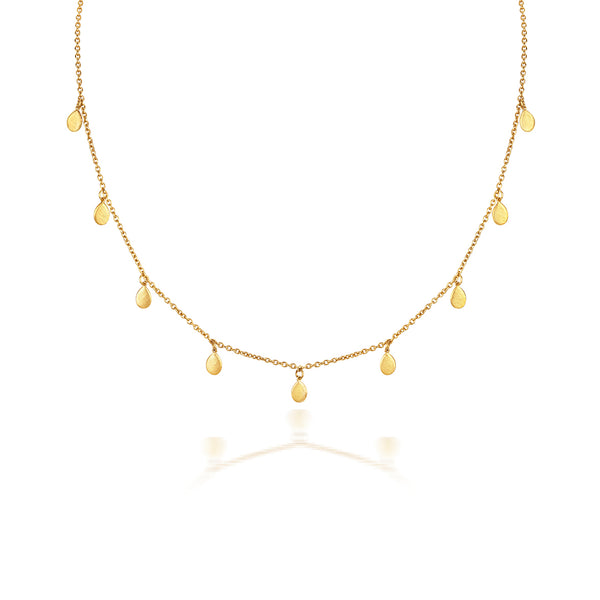 Apple Nine Pip Necklace, Gold