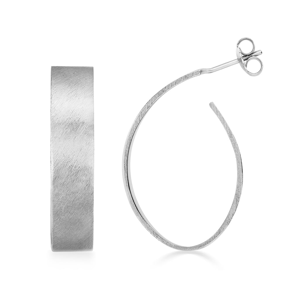 Apple Pip Hoop Earrings, Silver