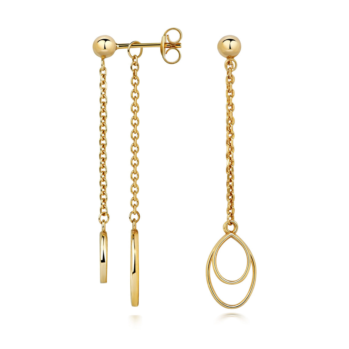 Apple Pip Chain Earrings, Gold