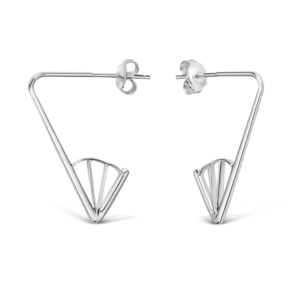 Wedge Angle Earrings, Silver