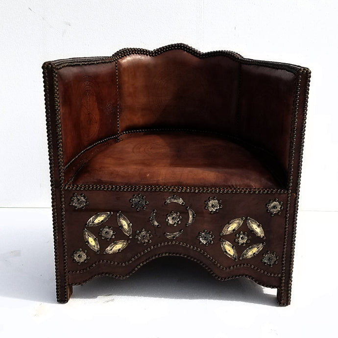 Vintage moorish royal leather & bone chair
