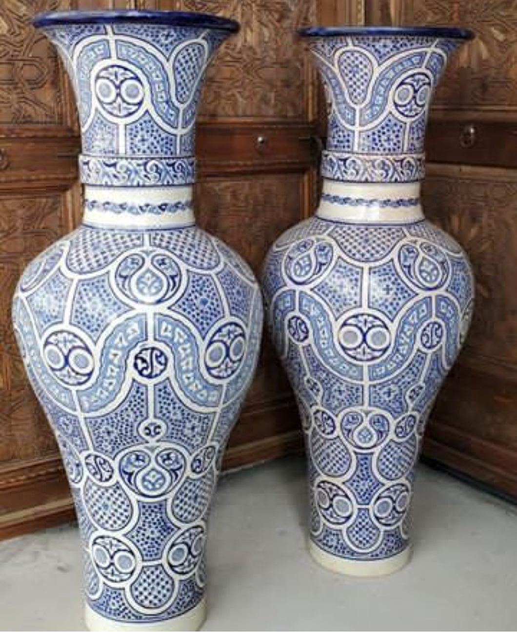 large royal vintage fez pottery vases