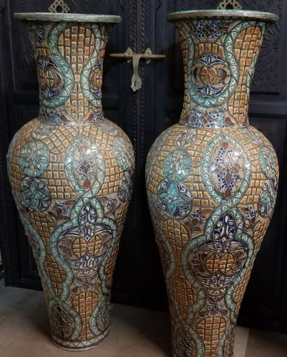 Extra large royal vintage inlay bone vases