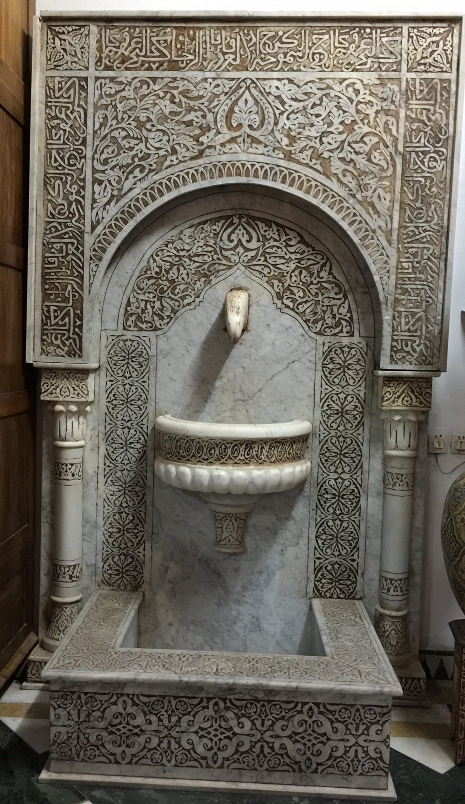 unique moroccan marble wall fountain