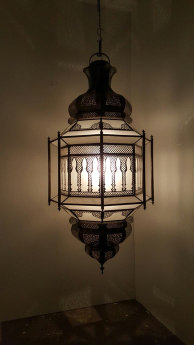 Large hanging rustic metal moroccan  ceiling lamp