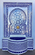 Blue & white moroccan mosaic wall tile fountain