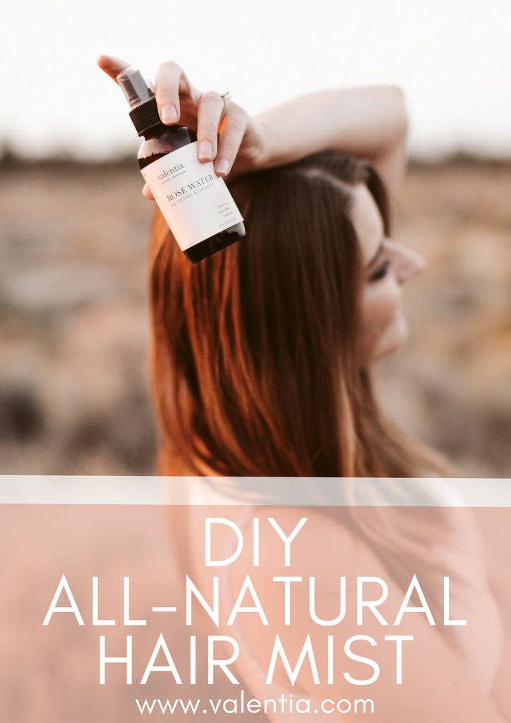 DIY All-Natural Hair Mist feat. Argan Oil, Rose Water, and Frankincense | Create your own luxurious hair mist using this simple combination of organic argan oil, rose water, and frankincense essential oil. Just a few sprays of this naturally nourishing combo is enough to leave you with softer, shinier, healthier, and more manageable hair. | Valentia Artisan Skincare