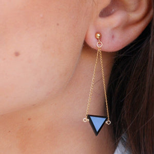The Long Drop Triangle Earrings - Black Spinel