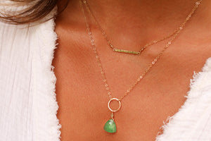The Braided Circle and Stone Necklace - Green Strawberry Quartz