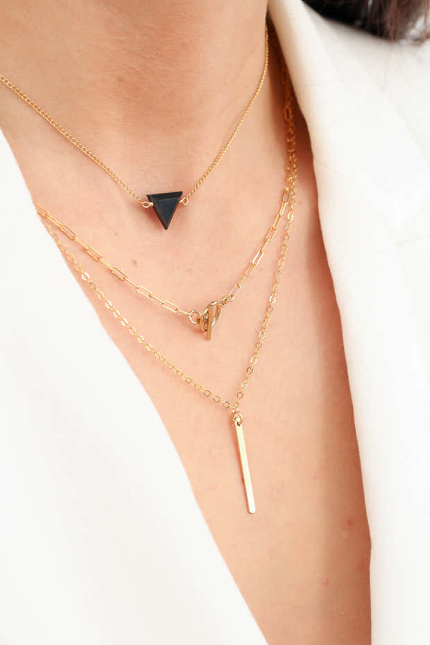 The Trinity Triangle Necklace - Black Spinel 1