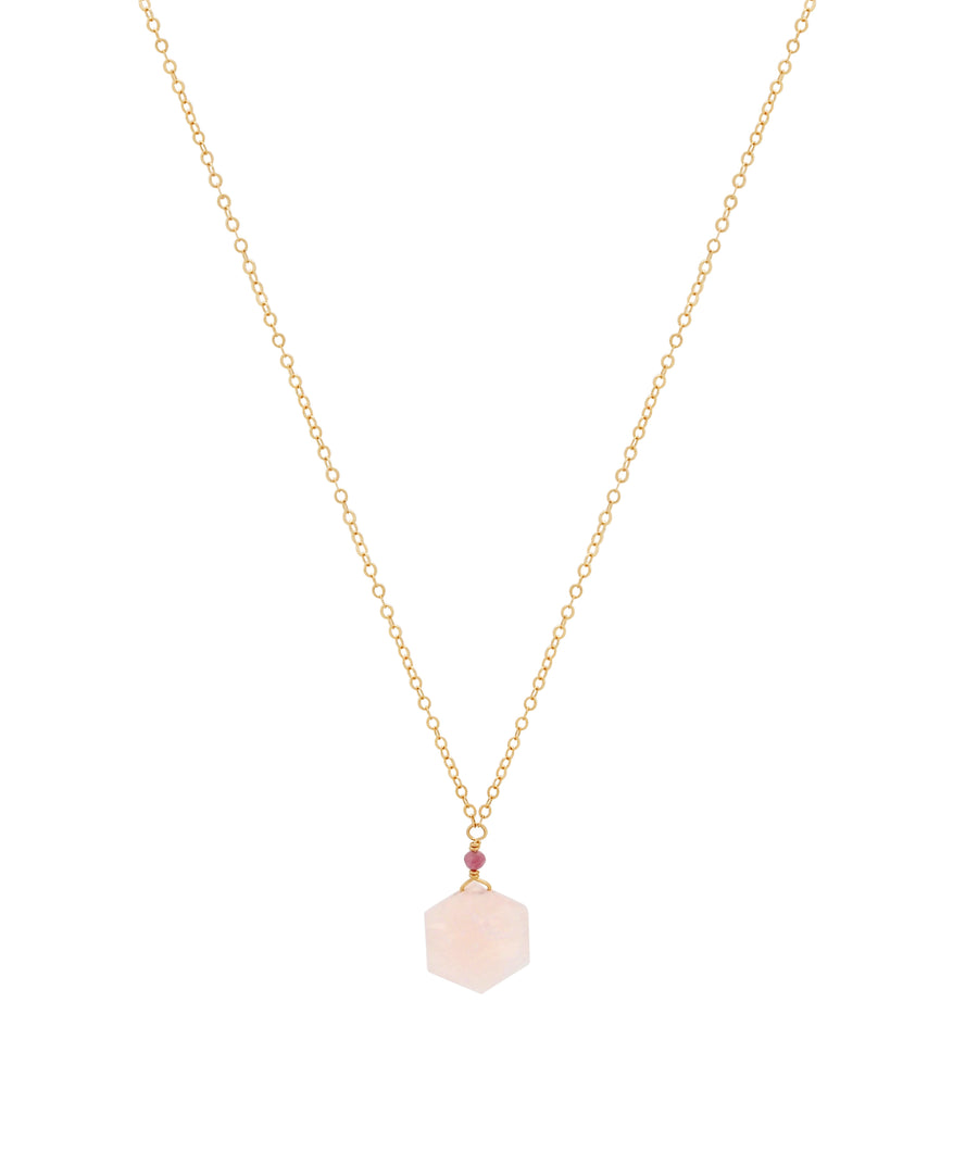 The Hexagon Necklace - Rose Quartz