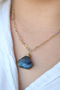 The Geometric Gemstone Drop Necklace - Labradorite