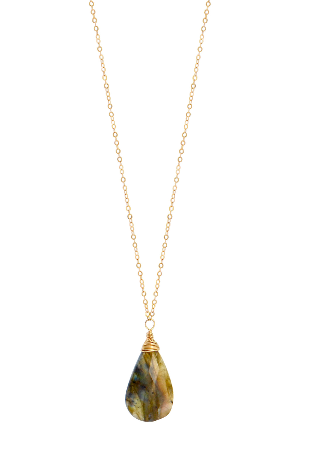 The Long Gemstone Drop Necklace - Labradorite