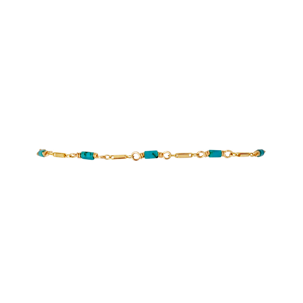 The Bar Chain Bracelet - Turquoise